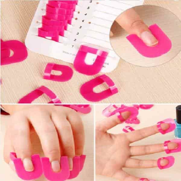 26pcs Glue Model Spill Proof Manicure Protector Tools+ 1 PC French Manicure Stickers Nailpolish