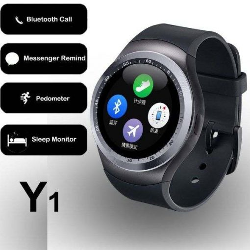 buy smart watch y1 round dial round shape sim enable gsm smart watch colored by shopse.pk in pakistan (1) pta approved