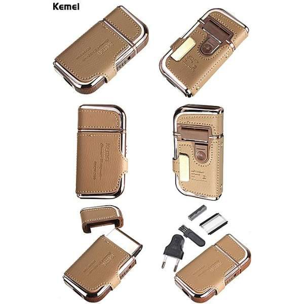 Kemei KM-5600 2 in 1 Leather Case For Men Electric Shaver in Pakistan