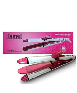 Kemei Km-1291 - Professional Hair Straightener, Curler & Crimper Iron - White & Pink in pakistan