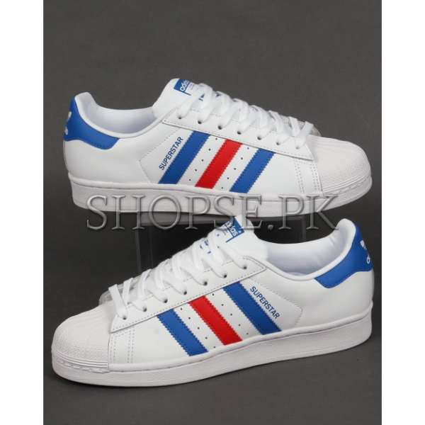 new product 14617 55de4 Adidas Superstar Blue Red Stripes