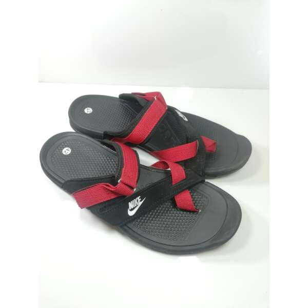 new arrival fa06a 306dd Nike Men Slippers Black Red Sandals