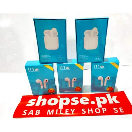 buy best bluetooth handsfree i11 tws airpods earbuds white bluetooth handsfree at low price by shopse.pk in pakistan