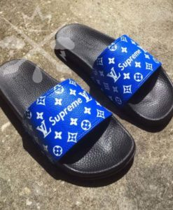 buy best quality mens slippers mens chappal summer slippers Blue louis vuitton x Supreme slides by shopse.pk in Pakistan (1)