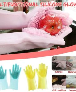 Buy Best Quality Dishwashing Gloves With Scrubber Rubber gloves for dishwashing Cleaning at lowest price by shopse.pk in paksitan 1 (4)