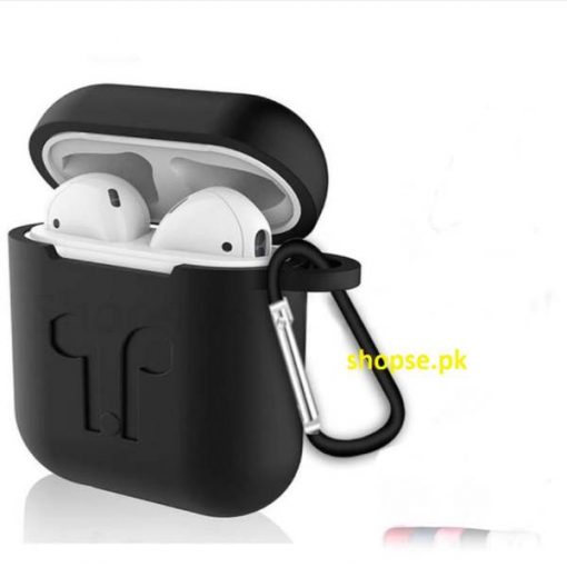 Buy Best Airpods Case Cover and Skin for Apple AirPods with Carabiner Keychain Belt Clip (Black) at Best Price in Pakistan by Shopse (1)