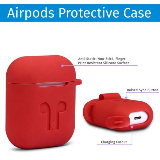 Buy Best Airpods Case Cover and Skin for Apple AirPods with Carabiner Keychain Belt Clip (Red) at Best Price in Pakistan by Shopse (2)