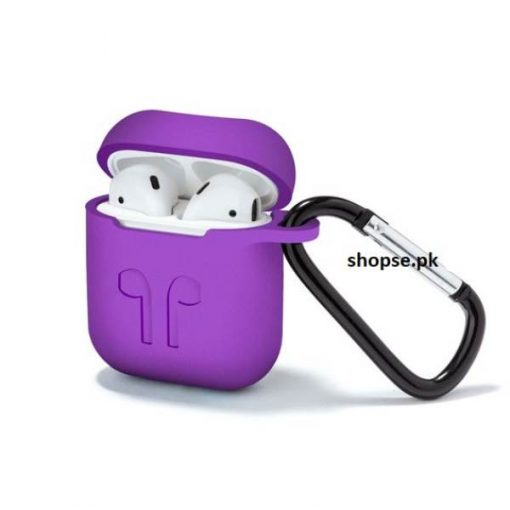 Buy Best Airpods Case Cover and Skin for Apple AirPods with Carabiner Keychain Belt Clip purple color at Best Price in Pakistan by Shopse (2)