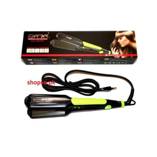 buy Gemei Gm-2977 - Professional Hair Straightener wide plate instant heating - Black at best price in pakistan by shopse (1)