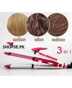 gemei gm-2921 3 in1 hair straightener, crimple and roller in Pakistan (1)