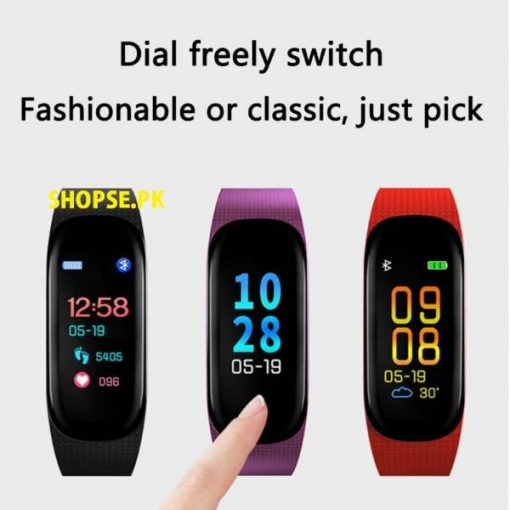 buy 2020 new M5 Smart Sports Bracelet Heart Rate Blood Pressure Oxygen Monitoring Call Reminder Color Screen Band Sport Watch fitness band online price in pakistan by Shopse.pk (1)