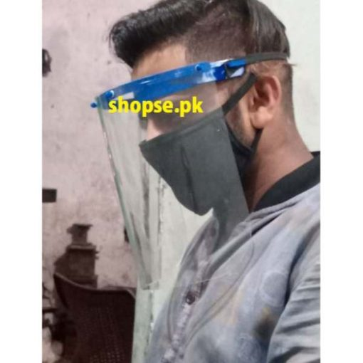 buy Face Shield Plastic Full Face Mask Protect Eyes and Face with Protective Clear Film Elastic Band at best price by shospe.pk in Pakistan (1)