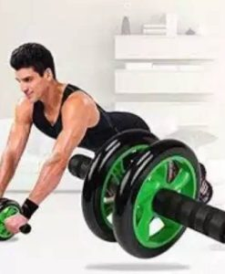Buy Double Wheels Ab Wheel Roller With Free Grip & Knee Mat - Green & Black at best price online by Shopse.pk in pakistan