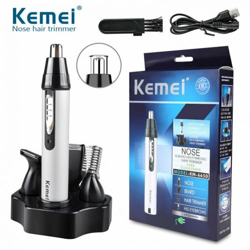 Buy Kemei KM - 312 3-in-1 Rechargeable Nose Eyebrow Ear Sideburns Hair Trimmer at best price online by Shopse.pk in pakistan